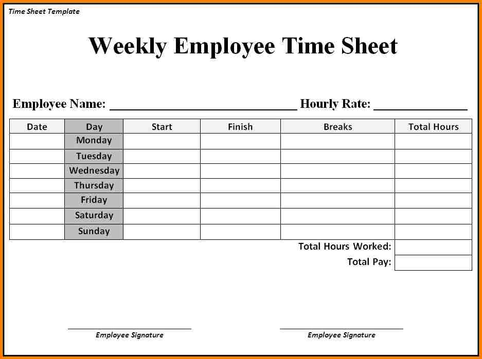 simple printable time sheets   Demire.agdiffusion.com