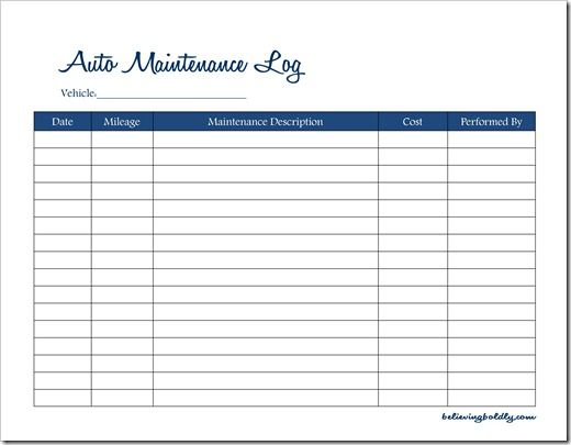 car maintenance log   Demire.agdiffusion.com