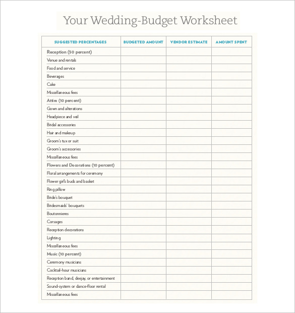 Wedding Budget Sheet Printable