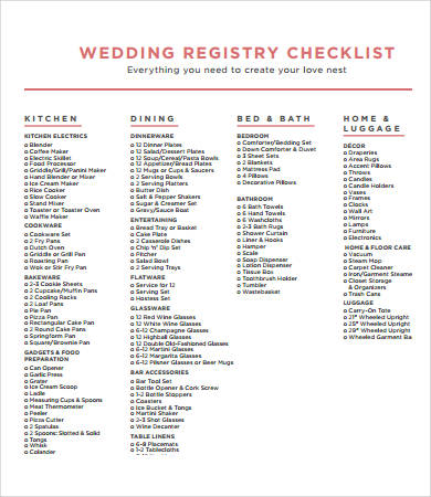 Printable Wedding Checklist   9+ Free PDF Documents Download