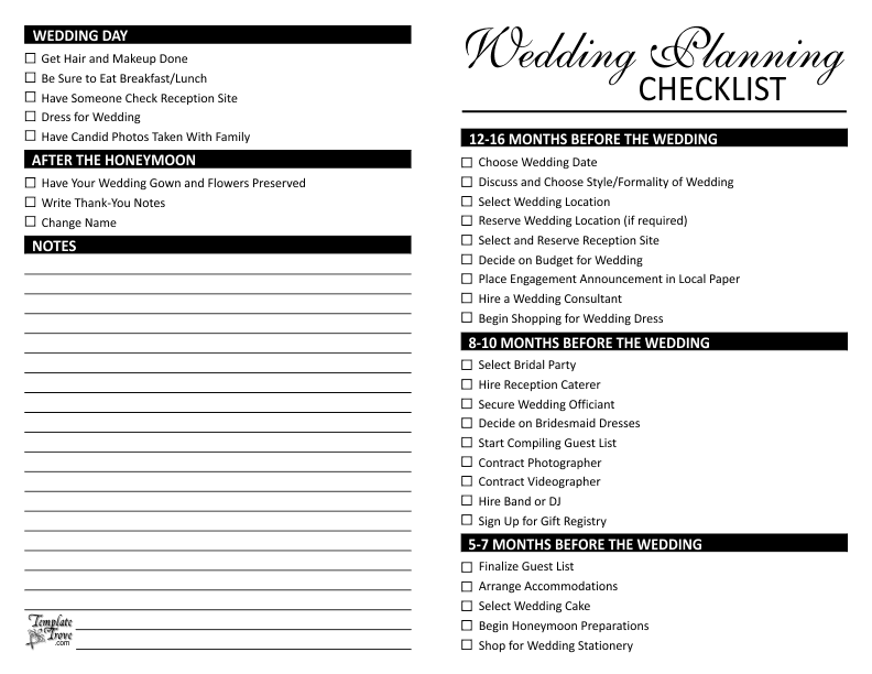 wedding plan checklist template   zrom.tk