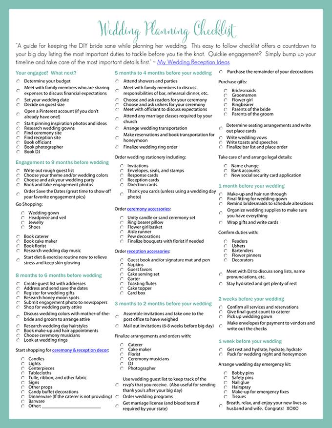 Printable Wedding Planning Checklist for DIY Brides | DIY Wedding
