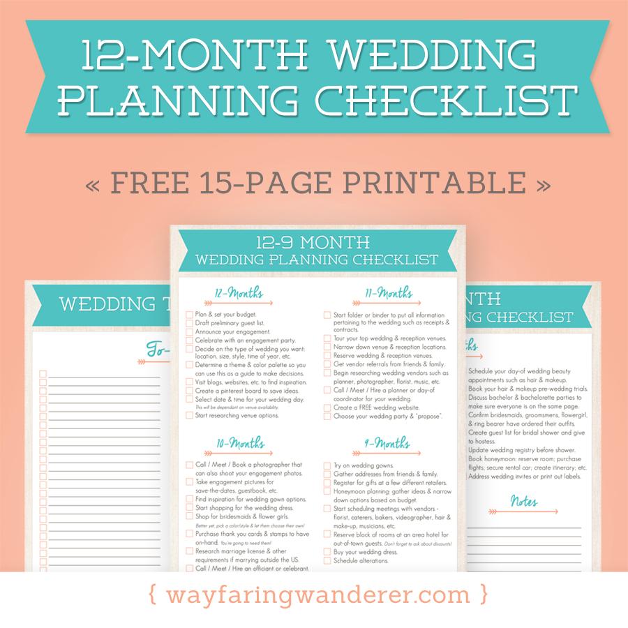 Wayfaring Wanderer: 12 Month Wedding Planning Checklist   Free