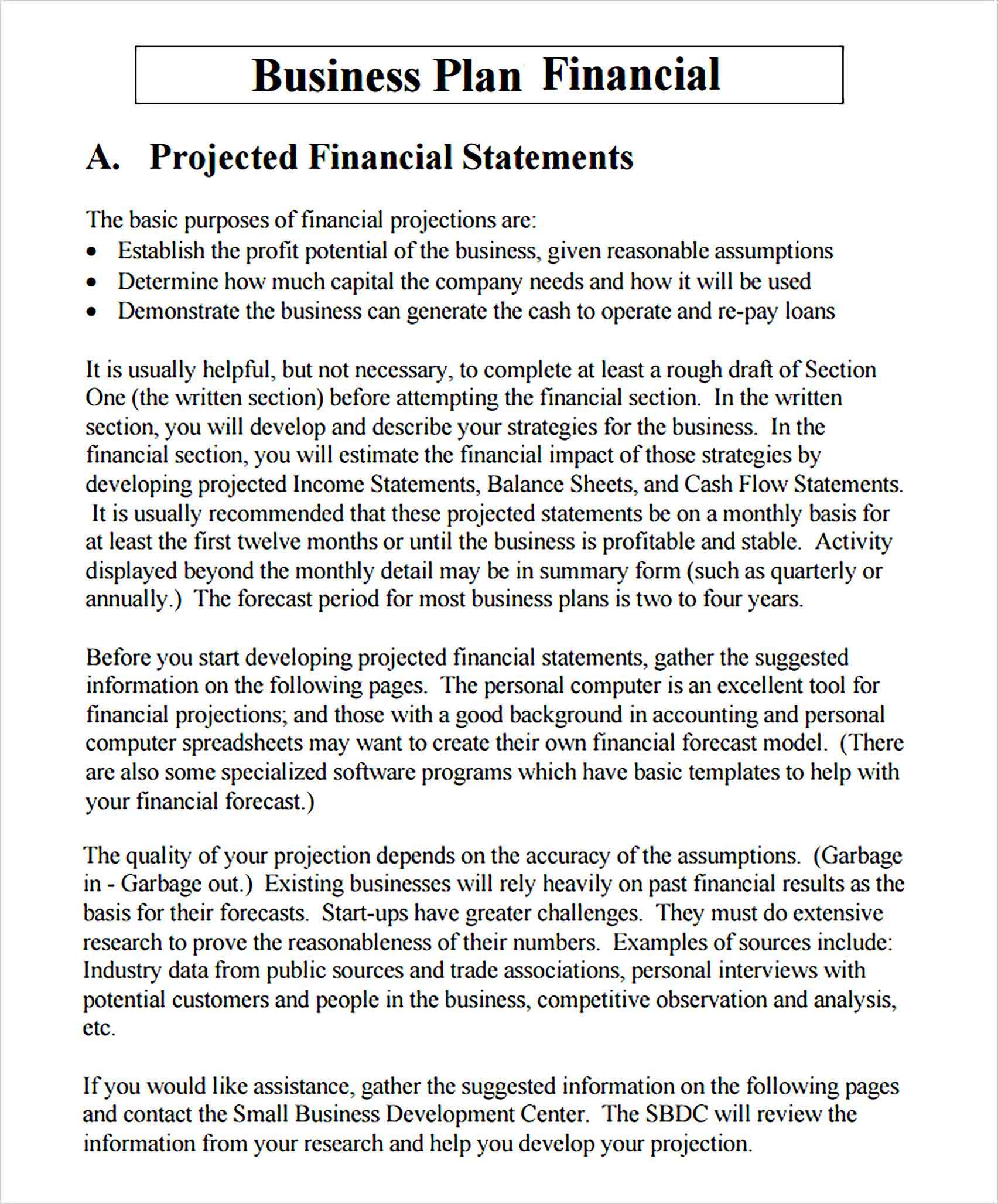 Financial Business Plan Template