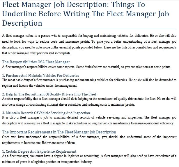 fleet manager job duties
