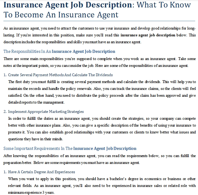 Insurance Agent Job Description: What To Know To Become An ...