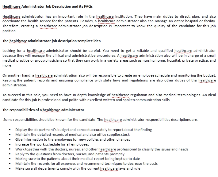 what is the job description of a healthcare administrator